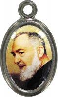 Medaglia San Pio in metallo nichelato e resina - 2,5 cm
