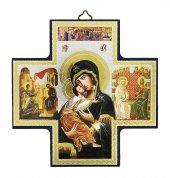 Croce icona Madonna Tenerezza stampa su legno - 15 x 15 cm