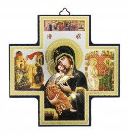 Copertina di 'Croce icona Madonna Tenerezza stampa su legno - 15 x 15 cm'