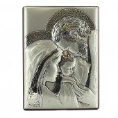 """Icona in legno e argento """"Sacra Famiglia"""" - dimensioni 16x12 cm"""