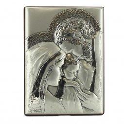 """Copertina di 'Icona in legno ed argento """"Sacra Famiglia"""" - dimensioni 16x12 cm'"""