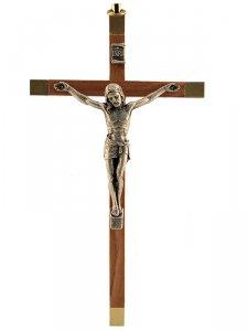 Copertina di 'Croce in legno d'ulivo con corpo in metallo - altezza 16 cm'