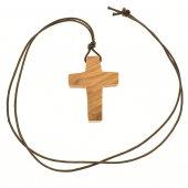 """Immagine di 'Croce in legno d'ulivo con laccio """"Il Buon Pastore"""" - altezza 4,5 cm'"""