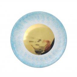 Copertina di 'Patena in ceramica blu e oro - diametro 15 cm'