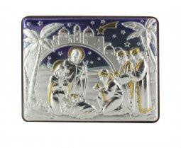 Copertina di 'Quadro Natività con lastra in argento 925 - Bassorilievo - 6,5 x 5 cm'