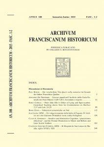 Archivum Franciscanum Historicum n. 2015/1-2