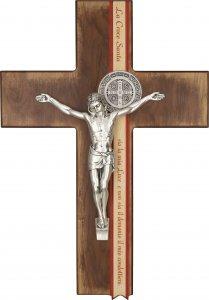 Copertina di 'Croce di San Benedetto in legno con Preghiera di liberazione - altezza 22 cm'