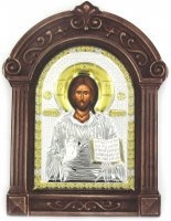 Icona in argento Cristo con cornice in legno cm 16,5x24