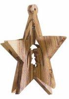Stella tridimensionale in legno d'ulivo con Natività - dimensioni 8x5 cm