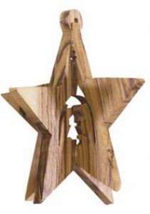 Copertina di 'Stella tridimensionale in legno d'ulivo con Natività - dimensioni 8x5 cm'