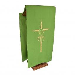 Copertina di 'Coprileggio verde con ricamo a croce e scritta IHS con spine'