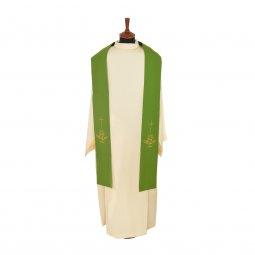 Copertina di 'Stola verde con ricamo a croce e cristogramma IHS'