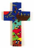 """Croce in legno """"Arca di Noè"""" - altezza 15 cm"""