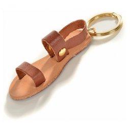 Copertina di 'Portachiavi in cuoio e metallo con sandalo francescano - dimensioni 7x3cm'