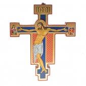 """Croce icona in legno con foglia oro """"Christus Patiens"""" - dimensioni 21x25 cm"""