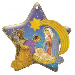 Copertina di 'Stella in legno da appendere con Natività classica - dimensioni 9,5x9,5 cm'
