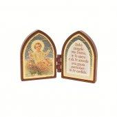 Dittico ogivale con Gesù Bambino e preghiera - altezza 4,2 cm