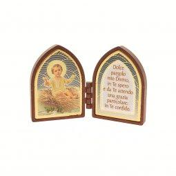 Copertina di 'Dittico ogivale con Gesù Bambino e preghiera - altezza 4,2 cm'