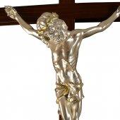 Immagine di 'Croce astile in legno con Cristo argentato - dimensioni 183x47 cm'