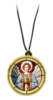 Ciondolo angelo in preghiera in legno ulivo con immagine serigrafata - 3,5 cm