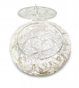 Copertina di 'Portarosario in filigrana d'argento 925 a forma tonda'