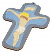"""Croce in legno """"INRI"""" su sfondo azzurro -  altezza 13 cm"""