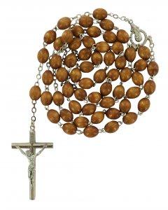 Copertina di 'Rosario in legno naturale ovale mm 5 legatura ottone argentato'
