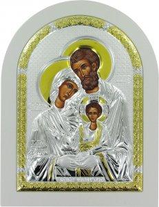 Copertina di 'Icona Sacra Famiglia greca a forma di arco con lastra in argento - 15 x 20 cm'