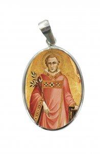 Copertina di 'Medaglia San Lorenzo in argento 925 e porcellana - 3 cm'