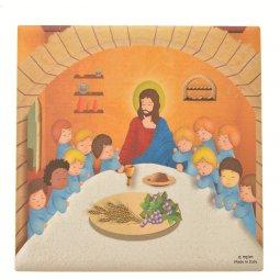 """Copertina di 'Piastrellina magnetica """"Ultima cena"""" su sfondo arancione - dimensioni 4,5x4,5 cm'"""