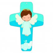 """Croce azzurra """"Angioletto sulla nuvola"""" - altezza 13 cm"""