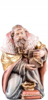 Re Melchiorre R.K. - Demetz - Deur - Statua in legno dipinta a mano. Altezza pari a 15 cm.