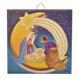 """Copertina di 'Piastrellina blu """"Natività su luna e cometa"""" stile classico - dimensioni 10x10 cm'"""
