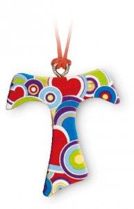 Copertina di 'Ciondolo con croce Tau in legno d'ulivo e decoro a fantasia - altezza 3,8 cm'
