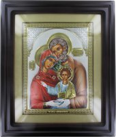 Quadro Sacra Famiglia con lastra in argento - 50 x 42 cm