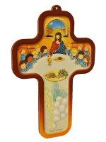 """Croce in legno """"Ultima cena"""" con bordo marrone (9x13)"""