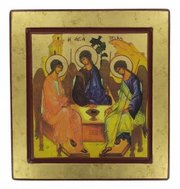 Copertina di 'Icona Trinità di Rublev, produzione greca su legno - 27 x 25 cm'