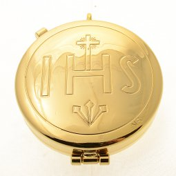 """Copertina di 'Teca eucaristica porta ostie in ottone dorato """"IHS"""" - diametro 5,3 cm'"""