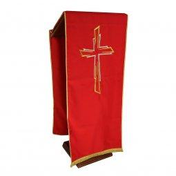 Copertina di 'Coprileggio rosso con ricamo a croce oro e argento'
