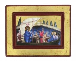 Copertina di 'Icona Gesù e Discepoli - tempesta sedata, produzione greca su legno (13,5 x 10,5 cm)'