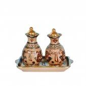 Ampolline anfora in ceramica con simbolo Tau - Modello Deruta marone oro graffito