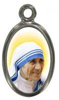 Medaglia Madre Teresa di Calcutta in metallo nichelato e resina - 1,5 cm