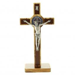 Copertina di 'Croce di San Benedetto da appoggio in legno d'ulivo e metallo - dimensioni 20x10 cm'