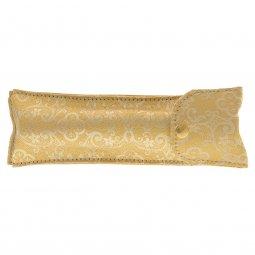 Copertina di 'Asperges portatile in ottone dorato con custodia in raso bianco damascato - lunghezza 14 cm'