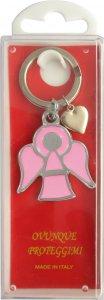 Copertina di 'Portachiavi angelo smaltato rosa con scatola - 4 cm'