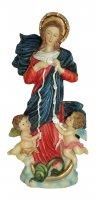 Statua di Maria che scioglie i nodi da 20 cm in confezione regalo con segnalibro in IT/IN/SP/FR