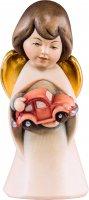 Statuina dell'angioletto con auto giocattolo, linea da 6 cm, in legno dipinto a mano, collezione Angeli Sognatori - Demetz Deur