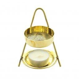 Copertina di 'Brucia incenso in metallo dorato - altezza 10 cm'