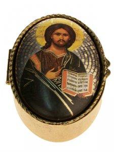 """Copertina di 'Portarosario ovale in metallo """"Cristo Pantocratore"""" - dimensioni 6x4 cm'"""