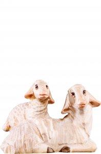 Copertina di 'Pecora sdraiata con agnello R.K. - Demetz - Deur - Statua in legno dipinta a mano. Altezza pari a 15 cm.'